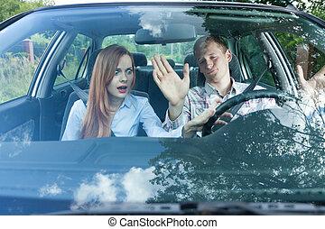 coppia, detenere, argomento, automobile