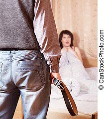 coppia, detenere, disputa, circa, adulterio