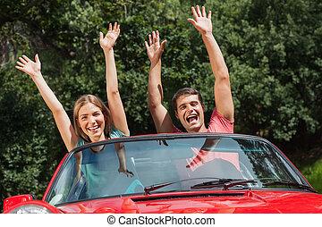 coppia, detenere, loro, cabriolet, divertimento, felice