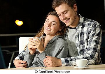coppia, di, adolescenti, datazione, sbarra