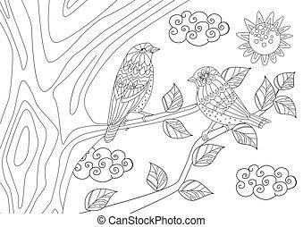 coppia, di, carino, uccelli, su, albero, in, giorno pieno sole, per, tuo, coloritura, papà