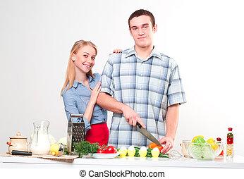 coppia, di, cottura, insieme