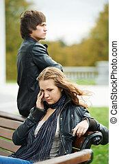 coppia, difficoltà, giovane, relazione, persone