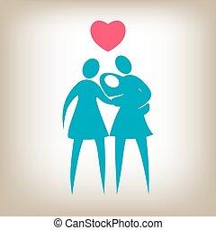 coppia, donna, famiglia, bambino