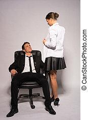 coppia, due, giovane, parlare, abbigliamento, corporativo