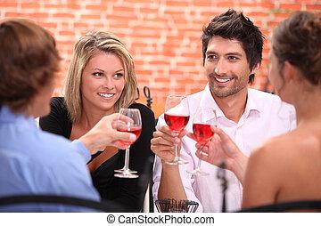 coppia, due, ristorante