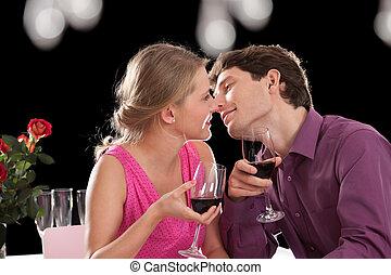 coppia, durante, cena romantica