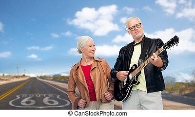 coppia, elettrico, tracciato, chitarra, 66, anziano, sopra