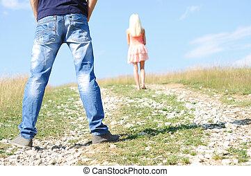coppia, erba, giovane