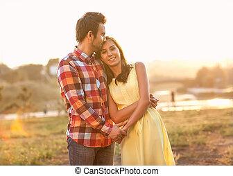 coppia, esterno, amore, giovane