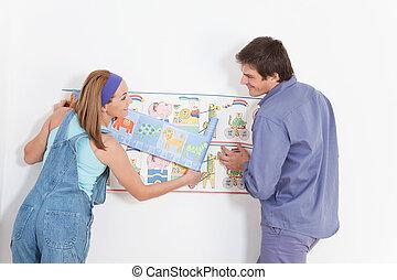 coppia felice, appendere, bambino, carta da parati