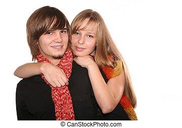coppia felice, bianco, isolato, giovane