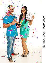 coppia felice, celebrare, anno nuovo
