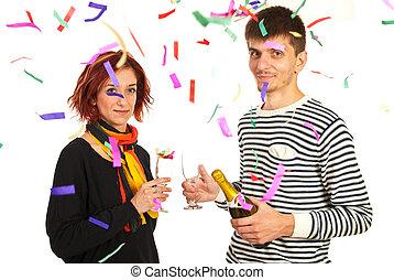coppia felice, celebrare, anno nuovo, festa