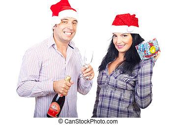 coppia felice, celebrare, natale