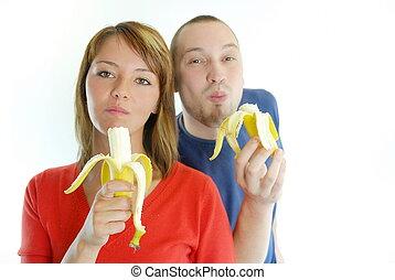 coppia felice, con, banane