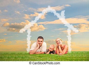 coppia felice, e, casa