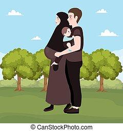 coppia felice, esterno, bello, donna incinta, con, lei, marito, islam, musulmano