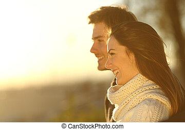 coppia felice, guardando, tramonto, in, inverno