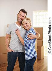 coppia felice, in, loro, casa nuova