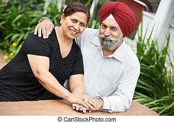coppia felice, indiano, adulto, persone