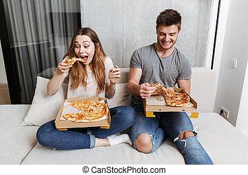 coppia, felice, mangiare, giovane, pizza
