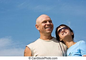 coppia, felice, persone., giovane