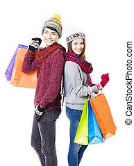 coppia felice, shopping, insieme, con, logorio inverno