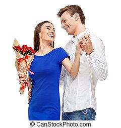 coppia felice, su, giorno valentines