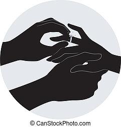 coppia, fidanzamento, silhouette, anello, mani