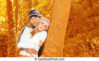 coppia, foresta, amare