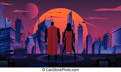 coppia, futuristico, superhero, città
