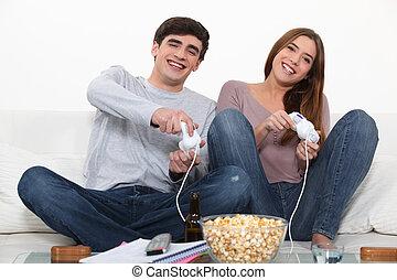 coppia, giochi per computer, giovane, gioco