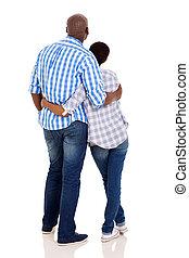 coppia, giovane, americano, africano, retro, vista