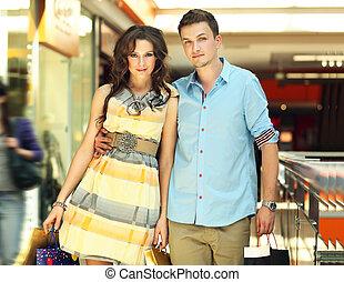 coppia, giovane, bello