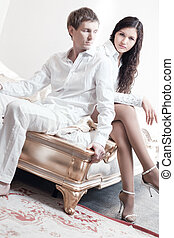 coppia, giovane, camera letto