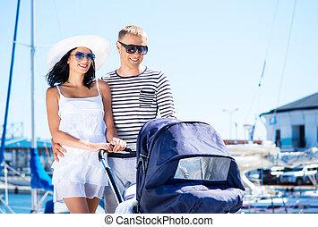 coppia, giovane, camminare, attraente