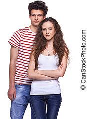 coppia, giovane, casuale