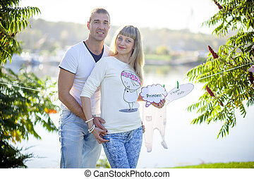 coppia, giovane, incinta