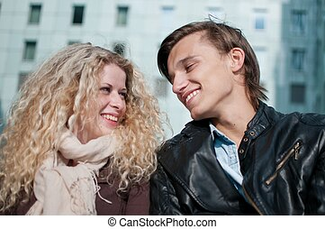 coppia, giovane, insieme, felice