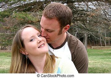 coppia, giovane, insieme