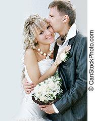 coppia, giovane, loro, giorno matrimonio, felice
