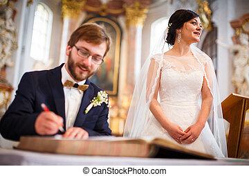 coppia, giovane, loro, ritratto sposa, giorno