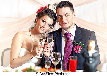 coppia, giovane, matrimonio
