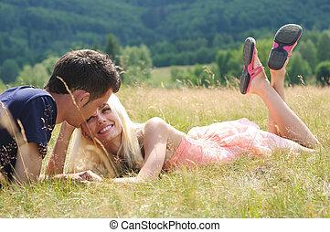 coppia, giovane, natura