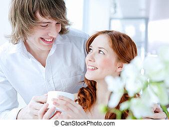 coppia, giovane, regalo