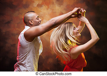 coppia, giovane, salsa, caraibico, balli