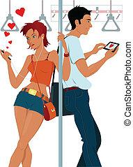 coppia, giovane, sottopassaggio, sexting