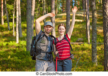 coppia, giovane, turisti