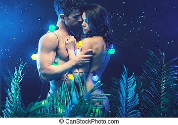 coppia, giungla, attraente